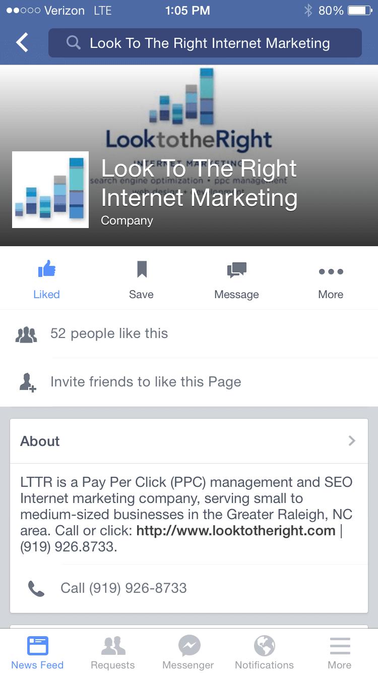 LTTR Facebook Page on Mobile