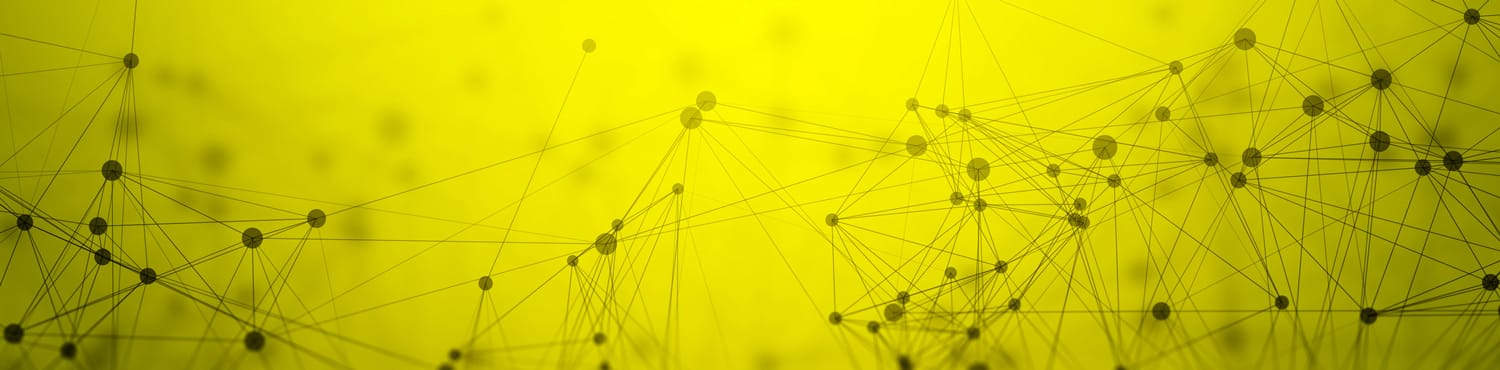 dark dots that are conected with each other forming abstract forms in yellow background
