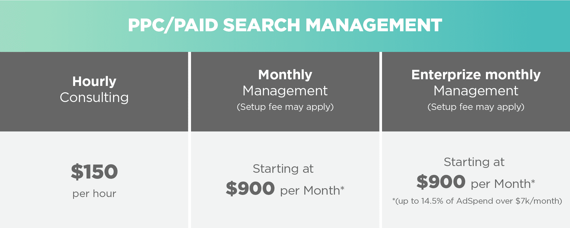 LTTR PPC Paid Search Pricing Table