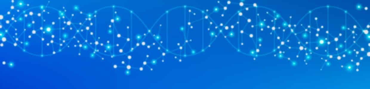 Horizontal DNA double helix with node graph overlaid