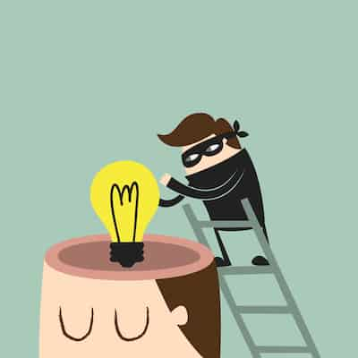 representation of stealing intellectual property: cartoon robber climbs to top of latter to steal lightbulb from large man's head.
