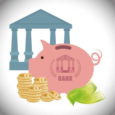 cartoon piggy bank with coins and bills, standing next to building with columns that is supposed to represent a bank.