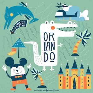 cartoon drawing of orlando attractions. Has mouse, marlin, alligator, castle, helicopter and palm tree