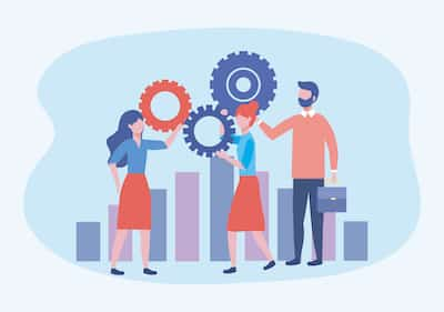 businesswomen and businessman with gears and statistics bar to teamwork strategy vector illustration