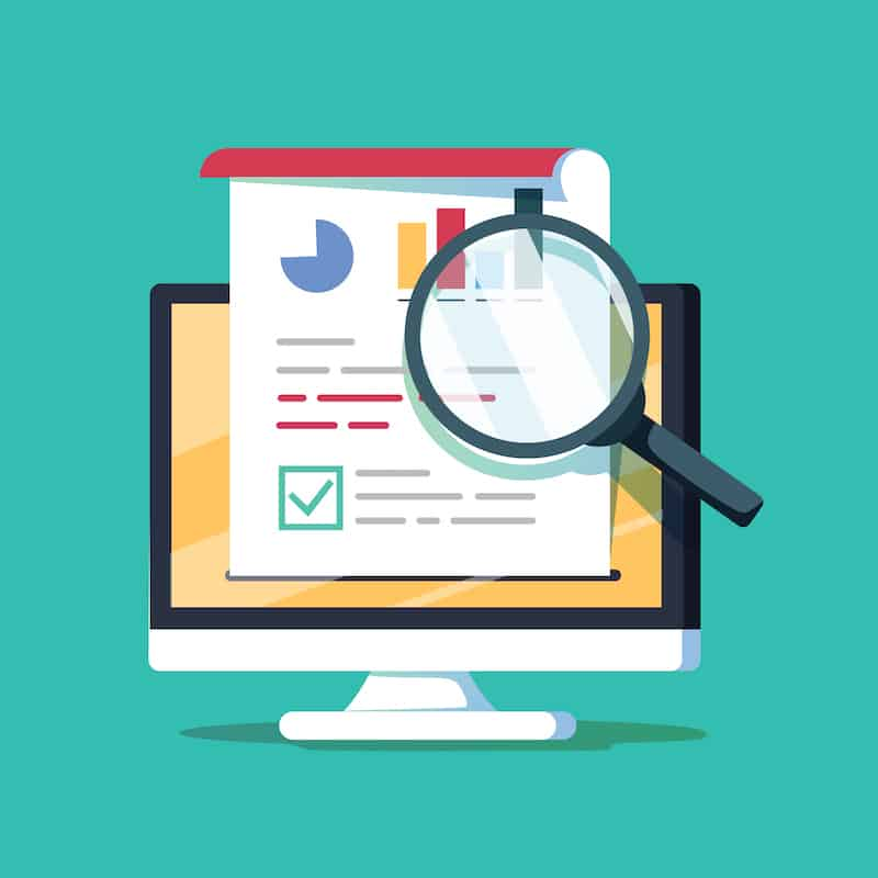 Audit research on computer vector illustration, flat cartoon paper financial report data analysis on pc, concept of accounting analytics with graphs and charts, digital document success check