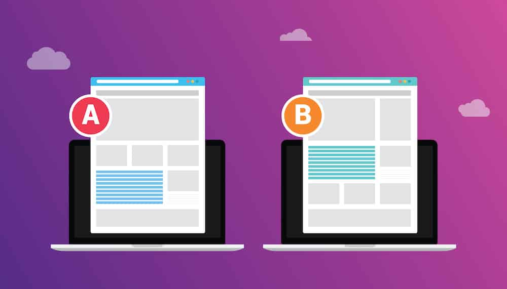 ab a b split testing concept with two business men compare test result between 2 page of website design comparison - vector illustration